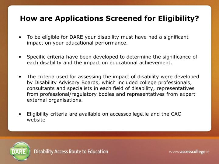 How are Applications Screened for Eligibility?