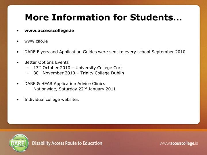 More Information for Students…