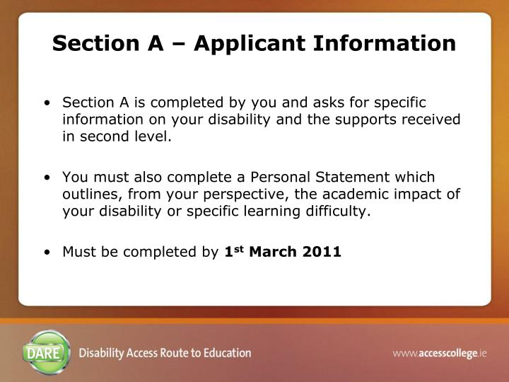 Section A – Applicant Information
