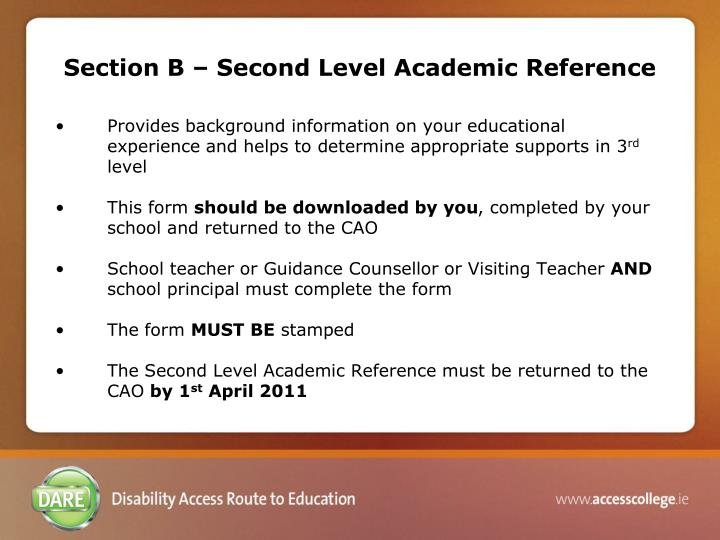 Section B – Second Level Academic Reference
