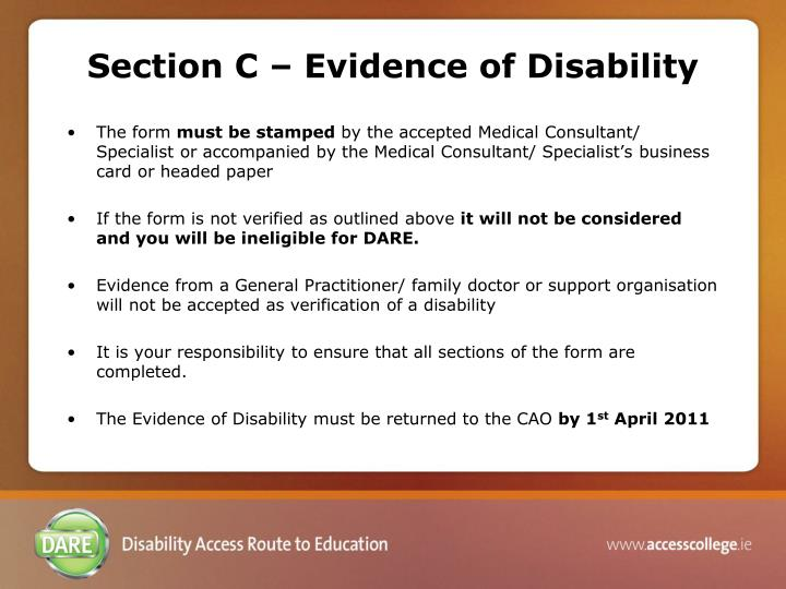 Section C – Evidence of Disability
