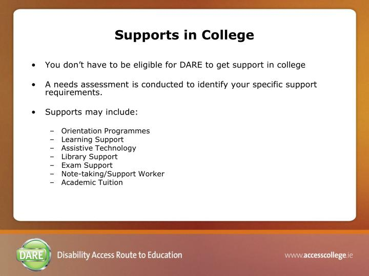 Supports in College