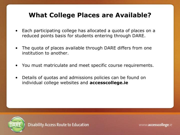 What College Places are Available?