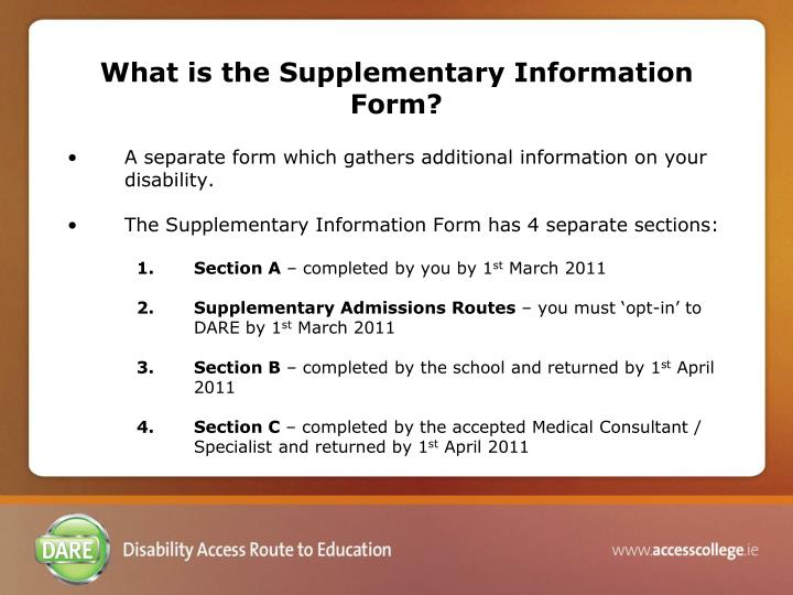 What is the Supplementary Information Form?
