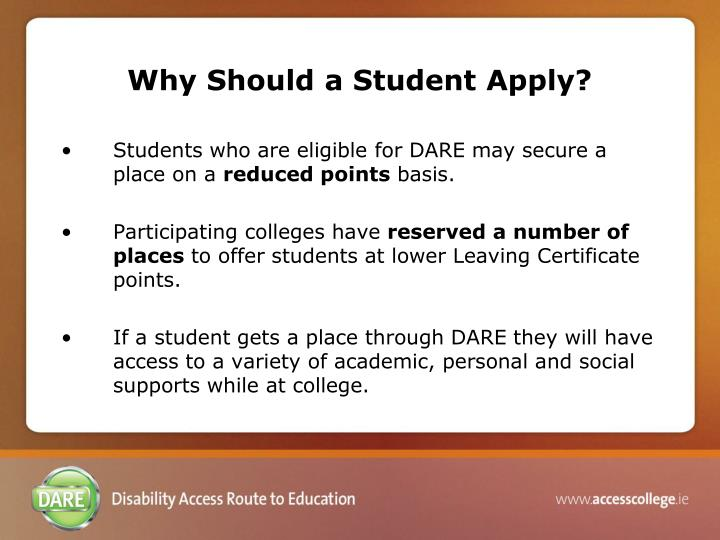 Why Should a Student Apply?