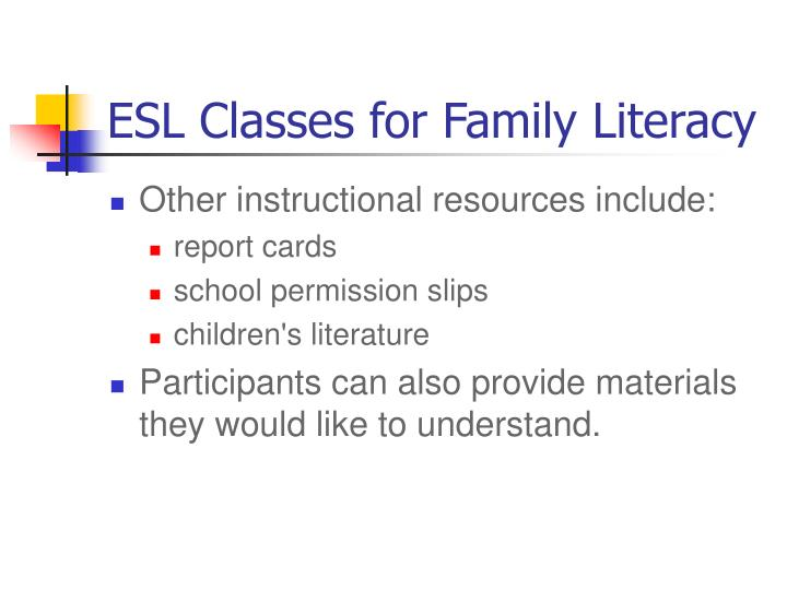 ESL Classes for Family Literacy