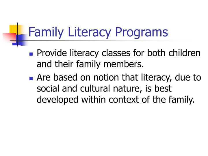 Family Literacy Programs
