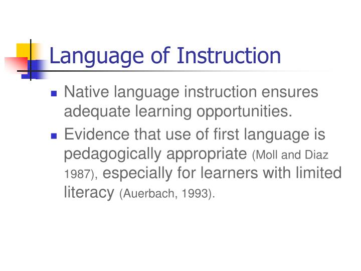 Language of Instruction