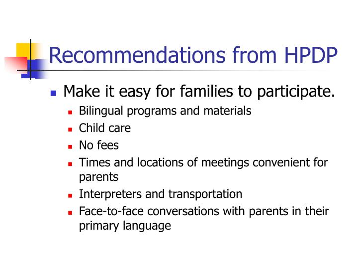Recommendations from HPDP