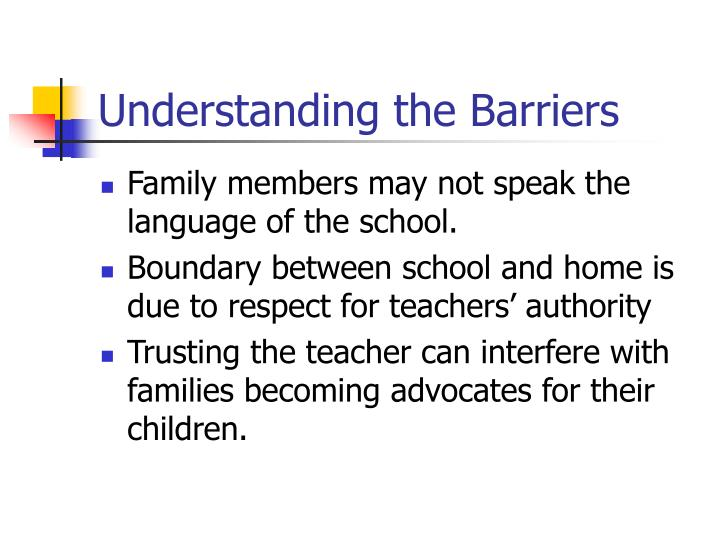 Understanding the Barriers