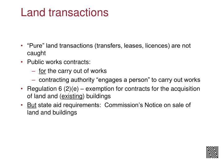 Land transactions