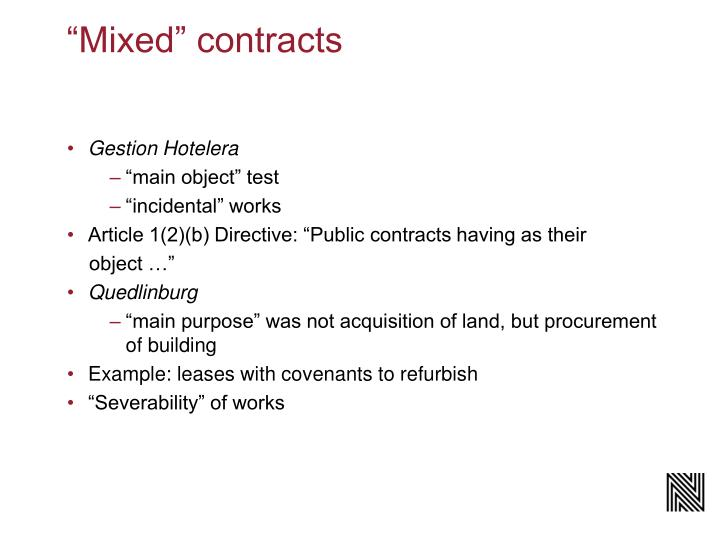 """""""Mixed"""" contracts"""
