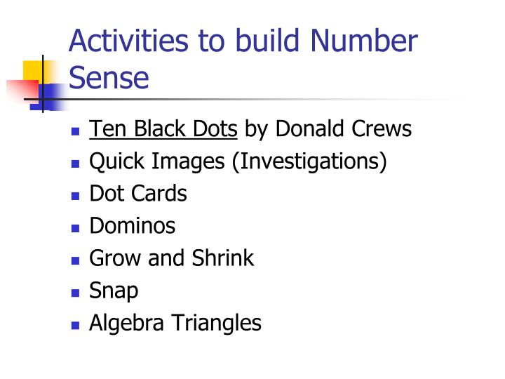 Activities to build Number Sense