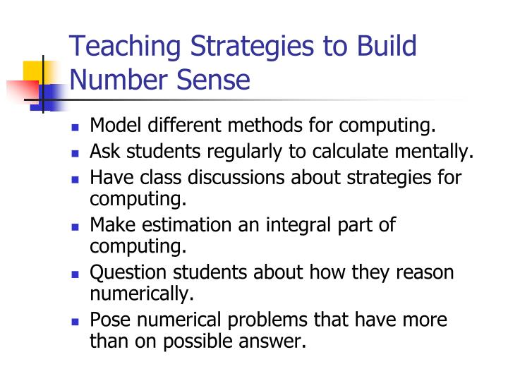 Teaching Strategies to Build Number Sense