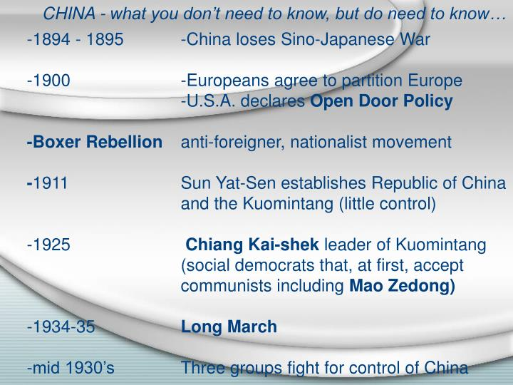 CHINA - what you don't need to know, but do need to know…
