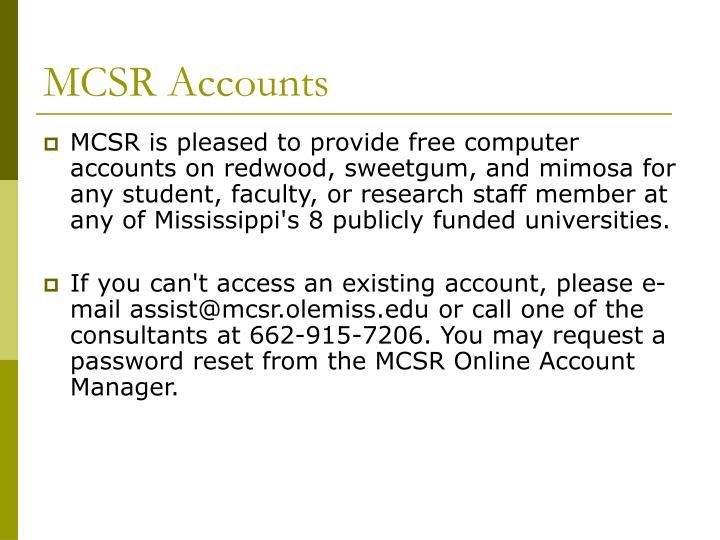 MCSR Accounts