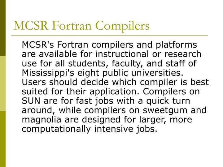 MCSR Fortran Compilers