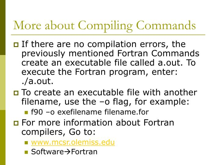 More about Compiling Commands