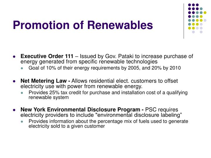 Promotion of Renewables