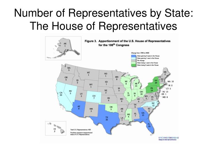 Number of Representatives by State:  The House of Representatives