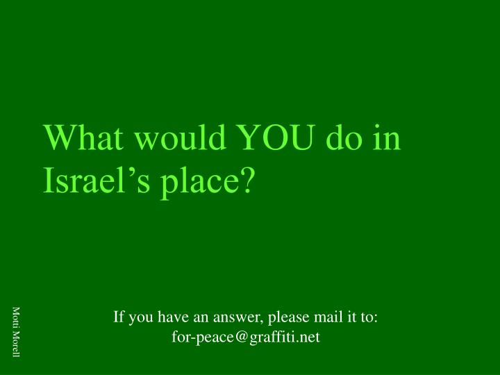What would YOU do in Israel's place?