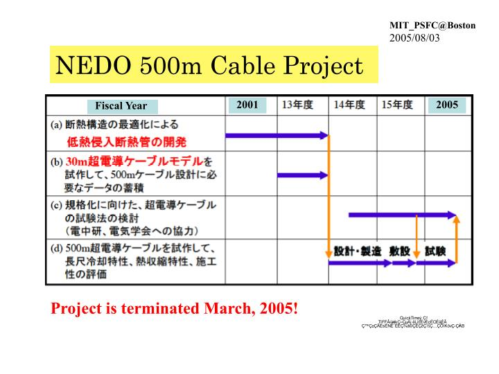 NEDO 500m Cable Project
