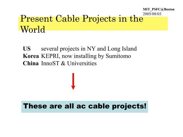 Present Cable Projects in the World