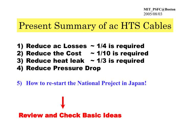 Present Summary of ac HTS Cables