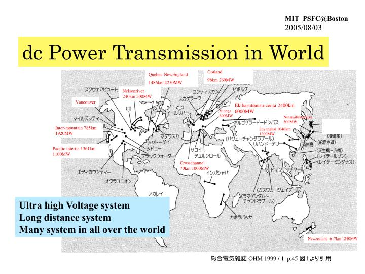 dc Power Transmission in World