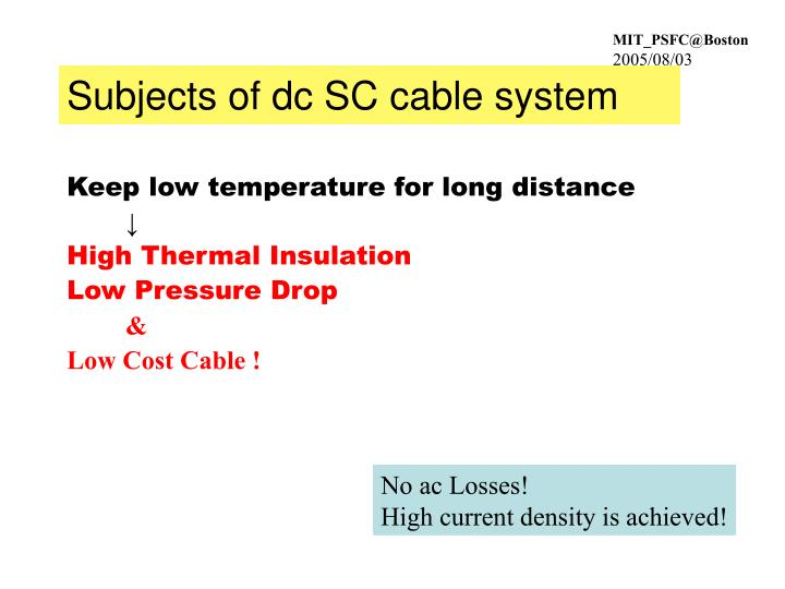 Subjects of dc SC cable system