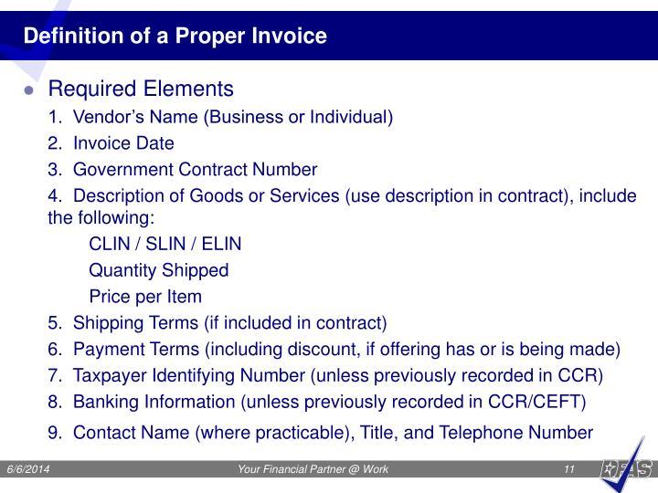 Definition of a Proper Invoice