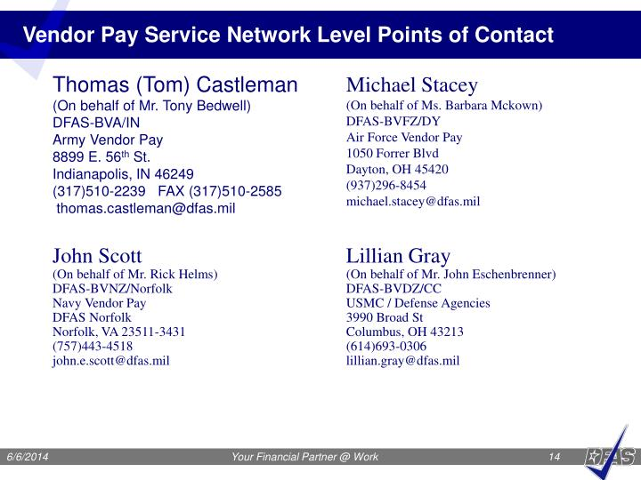 Vendor Pay Service Network Level Points of Contact