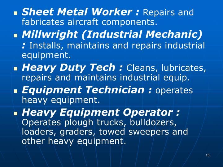 Sheet Metal Worker :
