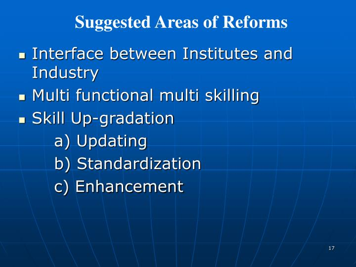 Suggested Areas of Reforms