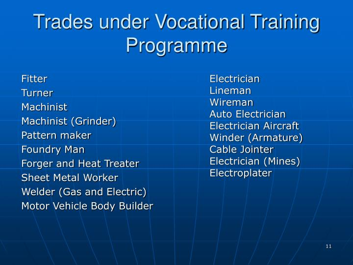 Trades under Vocational Training Programme