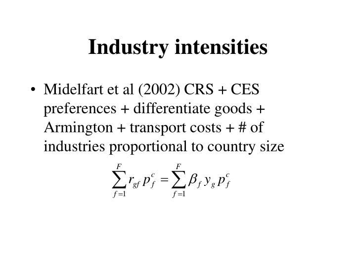 Industry intensities