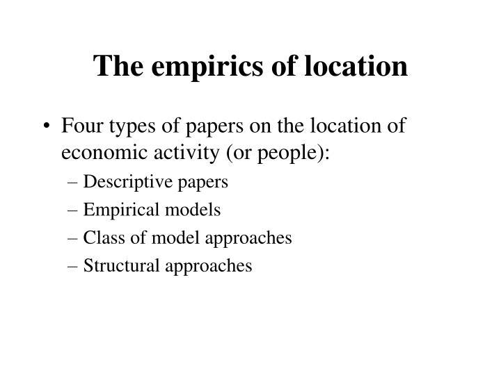 The empirics of location