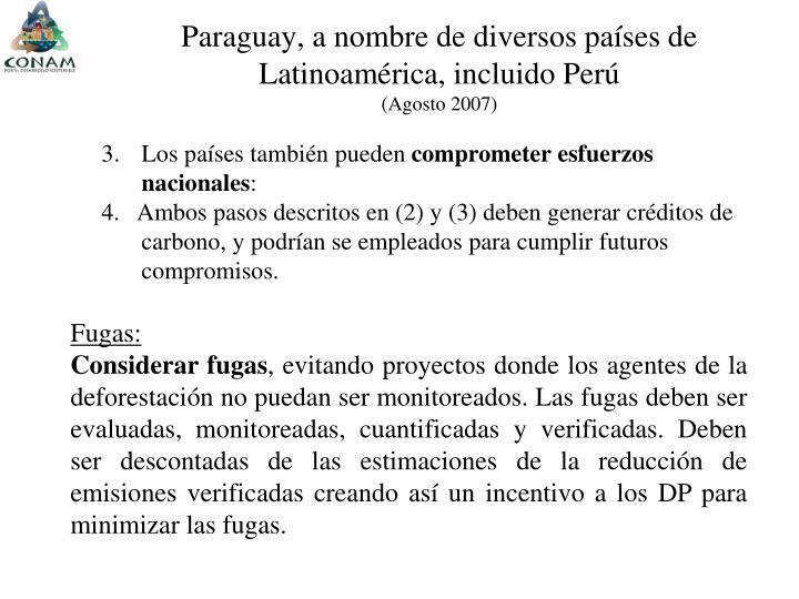 Paraguay, a nombre de diversos países de  Latinoamérica, incluido Perú