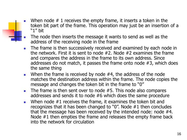 """When node # 1 receives the empty frame, it inserts a token in the token bit part of the frame. This operation may just be an insertion of a """"1"""" bit"""