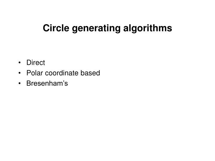 Circle generating algorithms