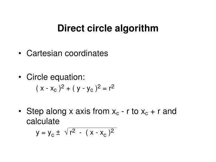 Direct circle algorithm