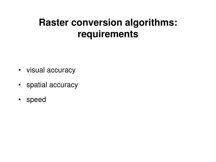 Raster conversion algorithms: requirements