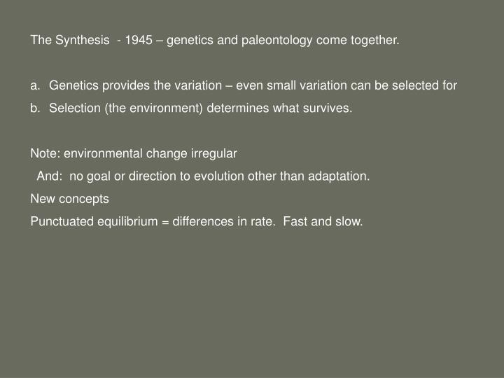 The Synthesis  - 1945 – genetics and paleontology come together.
