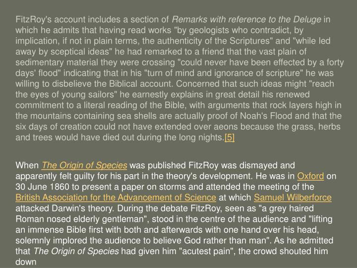FitzRoy's account includes a section of