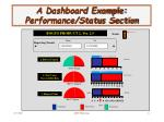 a dashboard example performance status section