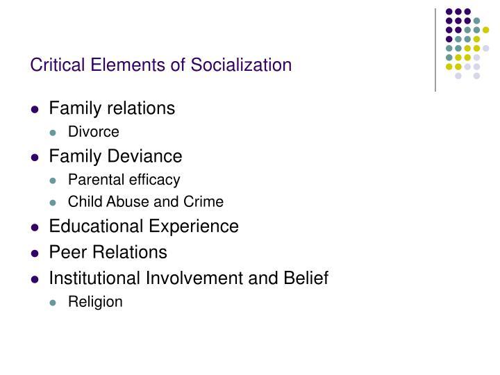 Critical Elements of Socialization