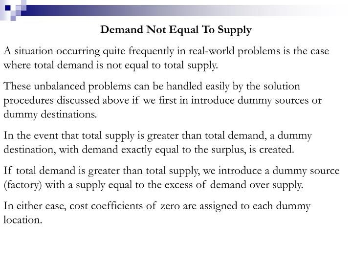 Demand Not Equal To Supply