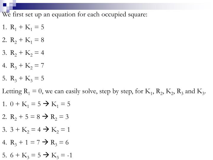 We first set up an equation for each occupied square: