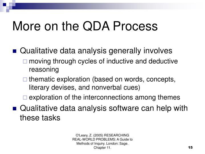 More on the QDA Process