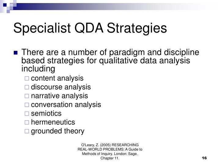 Specialist QDA Strategies